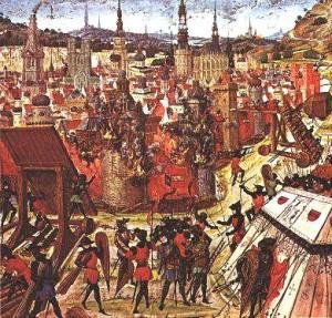 Erster Kreuzzug - Belagerung Jerusalem 1099. Mittelalterliches Gemälde.