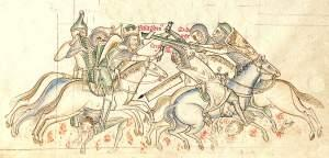Die Schlacht von Hattin. Saladin entreißt dem fliehenden König Guido das heilige Kreuz. Mittelalterliche Darstellung aus der Chronica majora de Matthäus Paris, 13. Jahrhundert.